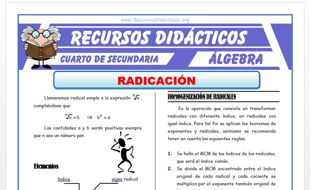 Ficha de Ejercicios de Radicación para Cuarto de Secundaria
