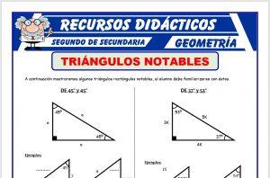 Ficha de Ejercicios de Triángulos Notables para Segundo de Secundaria