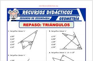 Ficha de Ejercicios de Triángulos para Segundo de Secundaria