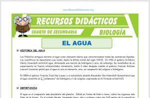 Ficha de El Agua para Cuarto de Secundaria
