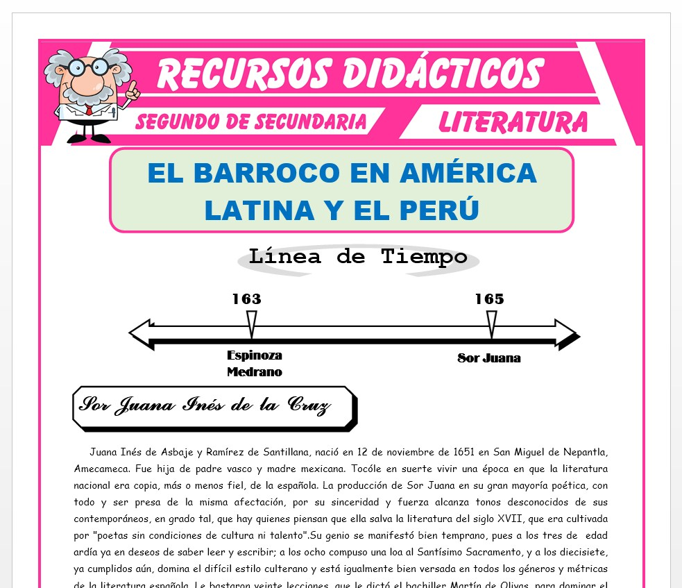 Ficha de El Barroco en América Latina para Segundo de Secundaria