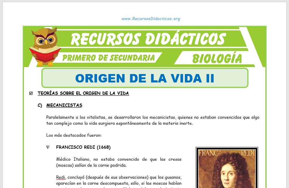 Ficha de El Origen de la Vida 2 para Primero de Secundaria