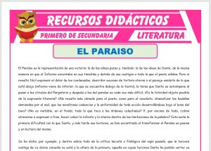 Ficha de El Paraíso La Divina Comedia para Primero de Secundaria