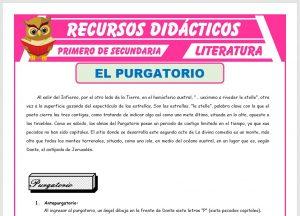 Ficha de El Purgatorio La Divina Comedia para Primero de Secundaria