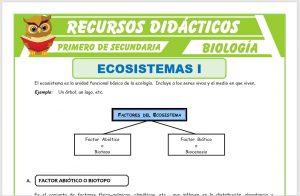 Ficha de Factor Abiótico del Ecosistema para Primero de Secundaria