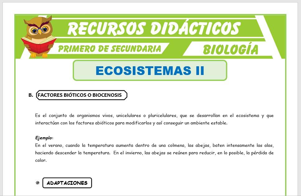 Ficha de Factor Biótico del Ecosistema para Primero de Secundaria
