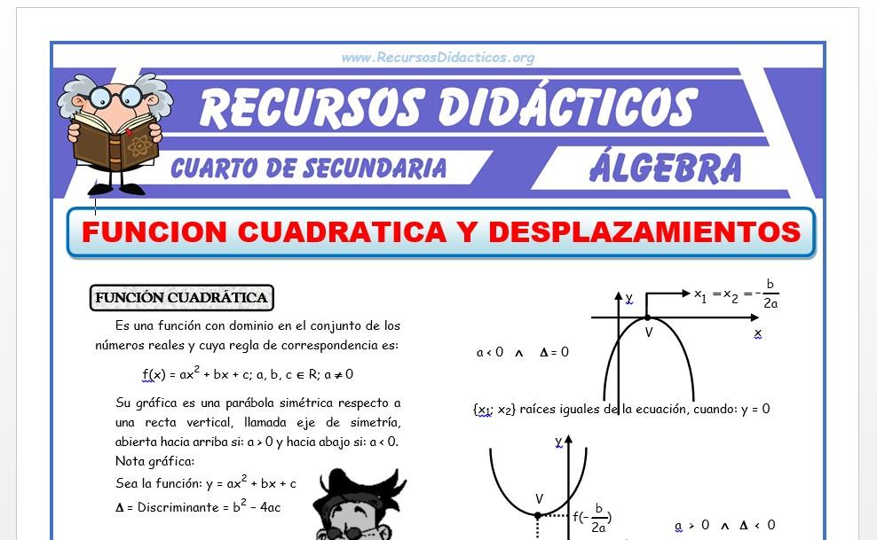 Ficha de Función Cuadrática para Cuarto de Secundaria