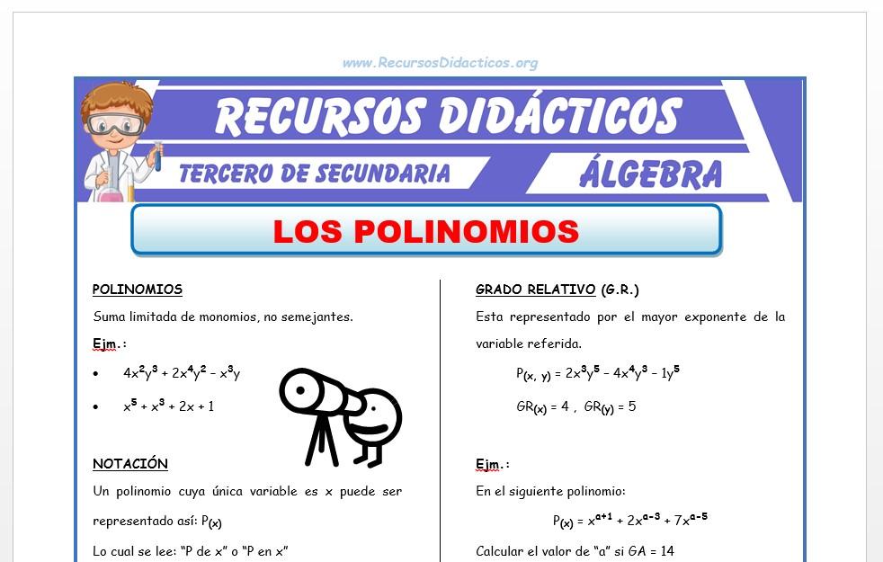 Ficha de Grado Absoluto y Relativo de un Polinomio para Tercero de Secundaria