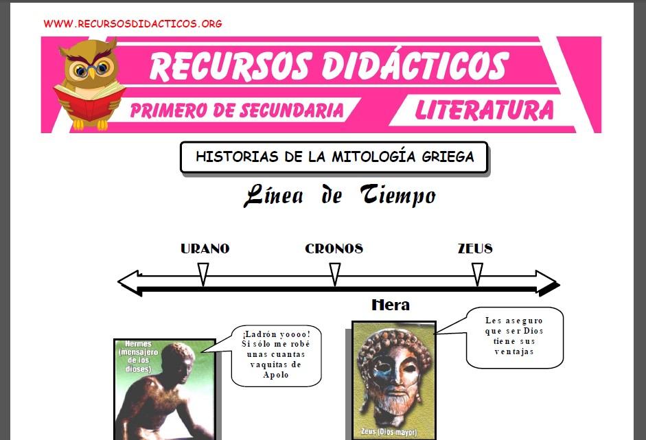 Ficha de Historia de la Mitología Griega para Primero de Secundaria