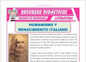 Ficha de Humanismo y Renacimiento Italiano para Segundo de Secundaria