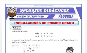 Ficha de Inecuaciones de 1° Grado para Cuarto de Secundaria