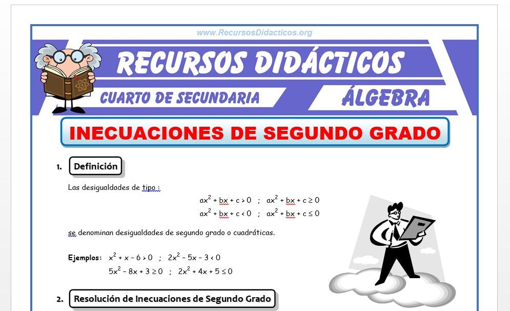 Ficha de Inecuaciones de 2° Grado para Cuarto de Secundaria