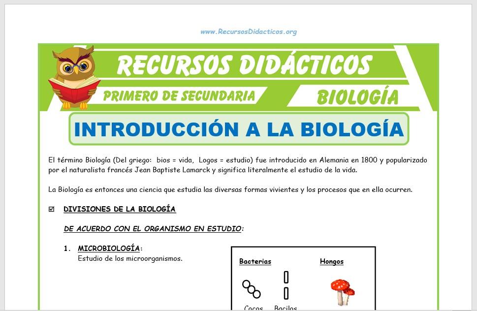 Ficha de Introducción a la Biología para Primero de Secundaria