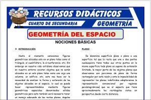 Ficha de Introducción a la Geometría del Espacio para Cuarto de Secundaria