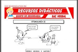 Ficha de La Etimología ejercicios para Quinto de Secundaria