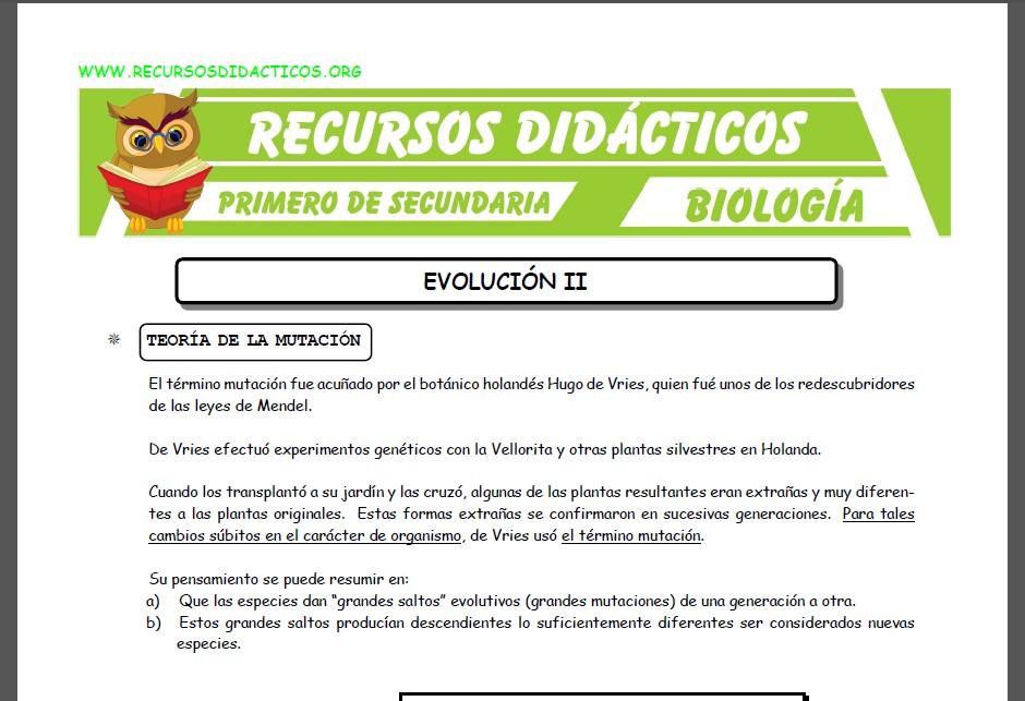 Ficha de La Evolución 2 para Primero de Secundaria