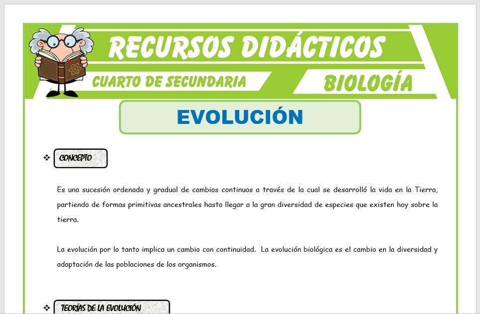 Ficha de La Evolución para Cuarto de Secundaria