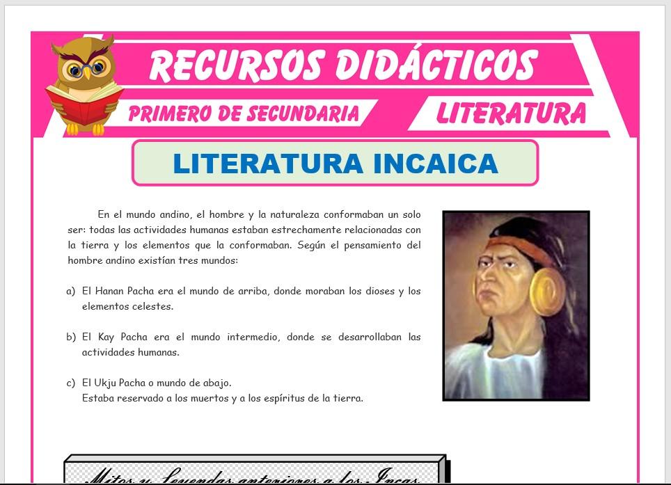 Ficha de La Literatura Incaica para Primero de Secundaria