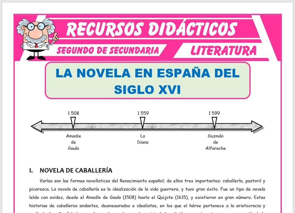 Ficha de La Novela en España para Segundo de Secundaria