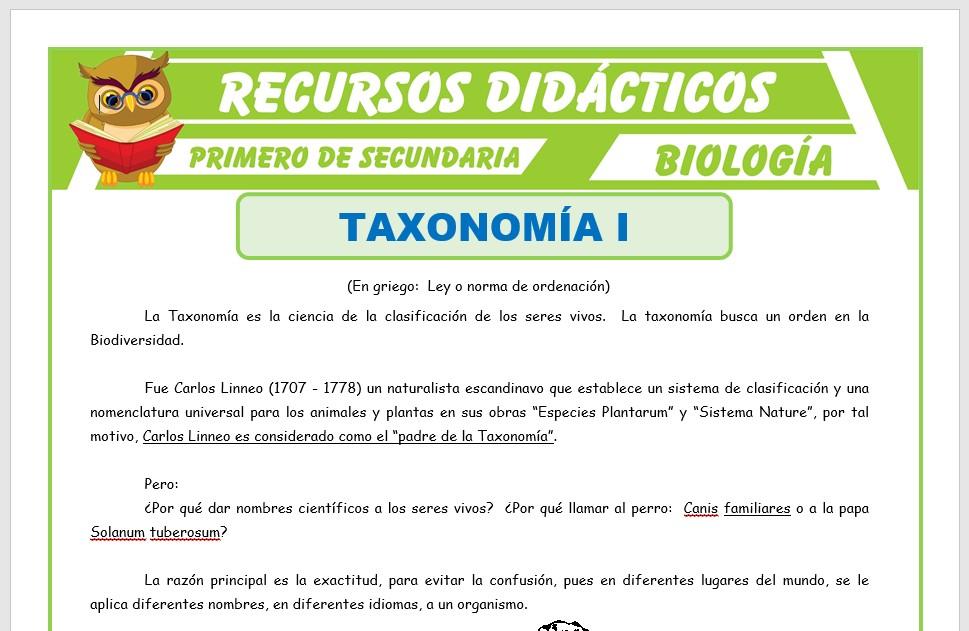 Ficha de La Taxonomía para Primero de Secundaria