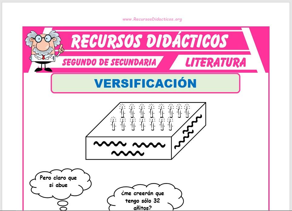 Ficha de La Versificación para Segundo de Secundaria