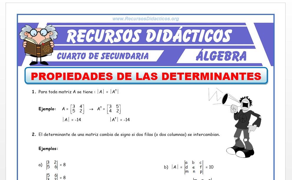 Ficha de Las Determinantes y sus Propiedades para Cuarto de Secundaria