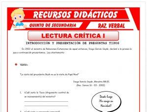 Ficha de Lectura Crítica ejercicios para Quinto de Secundaria