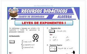 Ficha de Leyes de Exponentes Potenciación para Cuarto de Secundaria
