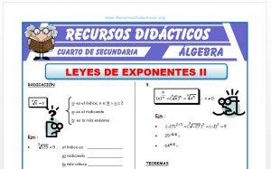 Ficha de Leyes de Exponentes Radicación para Cuarto de Secundaria