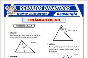 Ficha de Líneas Notables 2 de los Triángulos para Segundo de Secundaria