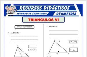 Ficha de Líneas Notables de los Triángulos para Segundo de Secundaria