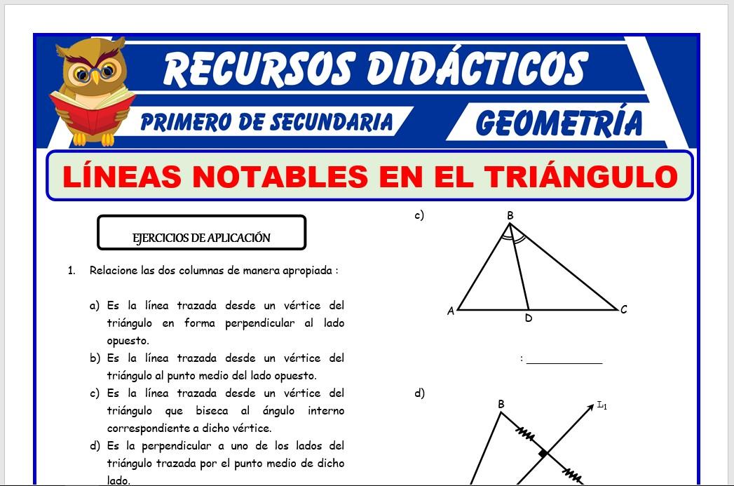 Ficha de Líneas Notables en el Triángulo para Primero de Secundaria