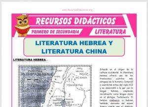 Ficha de Literatura Hebrea y China para Primero de Secundaria