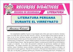 Ficha de Literatura Peruana Durante el Virreinato para Segundo de Secundaria