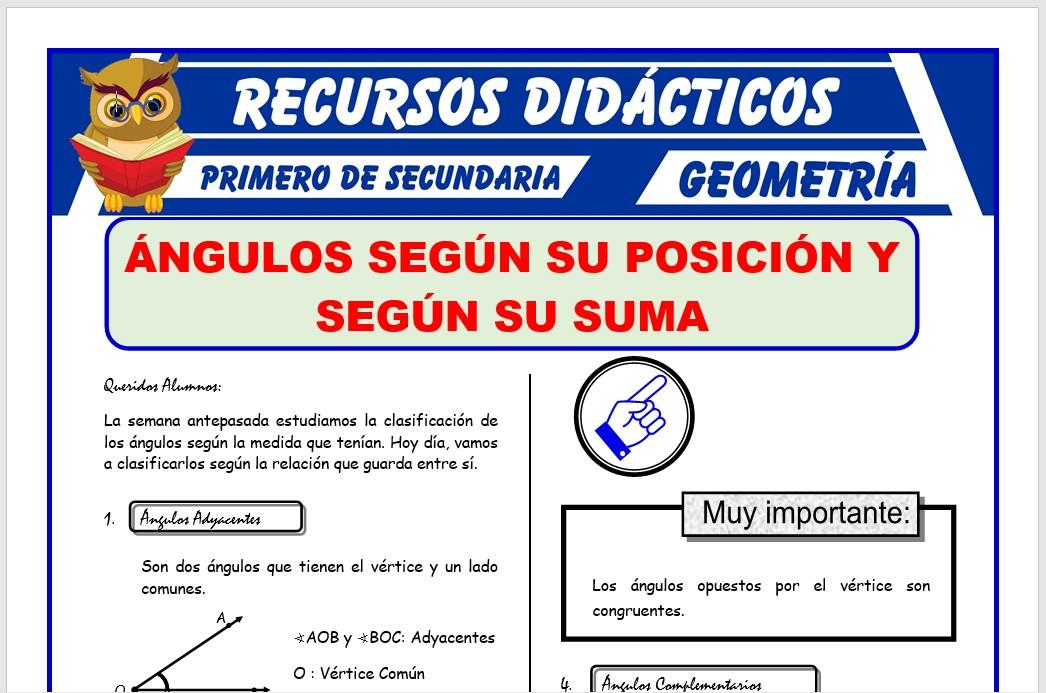 Ficha de Los Ángulos Según su Posición para Primero de Secundaria