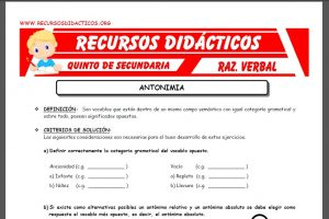 Ficha de Los Antónimos ejercicios para Quinto de Secundaria