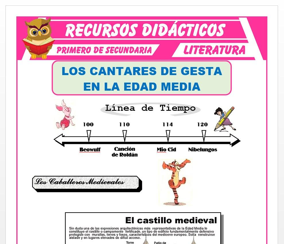 Ficha de Los Cantares de Gesta para Primero de Secundaria