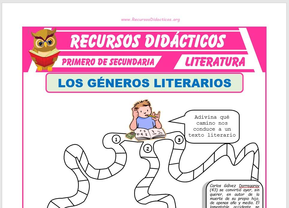Ficha de Los Géneros Literarios para Primero de Secundaria
