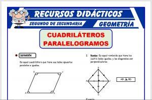 Ficha de Los Paralelogramos para Segundo de Secundaria
