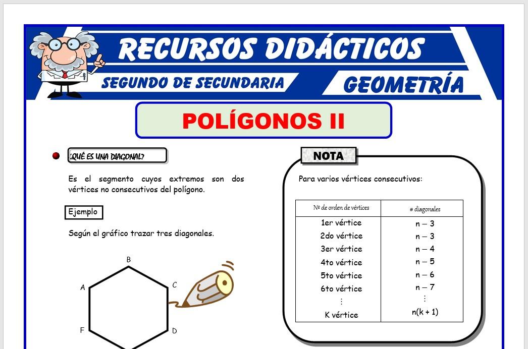 Ficha de Los Polígonos y sus Diagonales para Segundo de Secundaria