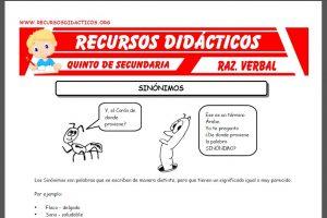 Ficha de Los Sinónimos ejercicios para Quinto de Secundaria