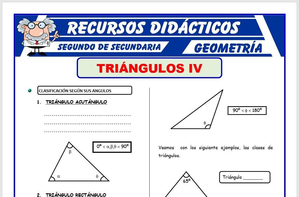 Ficha de Los Triángulos Según sus Ángulos para Segundo de Secundaria