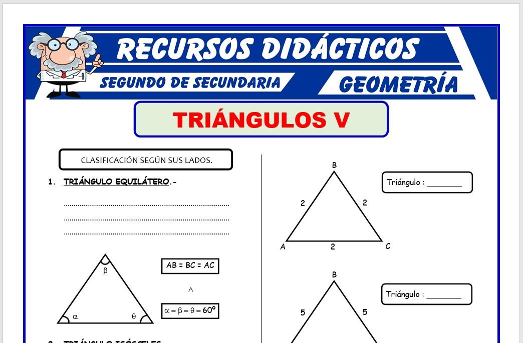 Ficha de Los Triángulos Según sus Lados para Segundo de Secundaria
