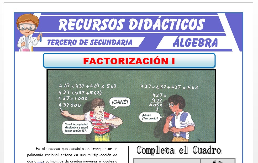 Ficha de Métodos de Factorizacion 1 para Tercero de Secundaria