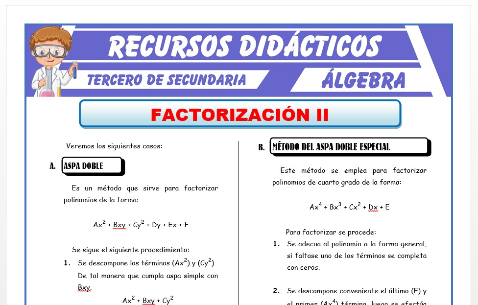Ficha de Métodos de Factorizacion 2 para Tercero de Secundaria