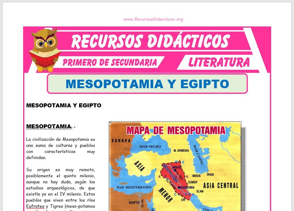 Ficha de Mesopotamia y Egipto para Primero de Secundaria