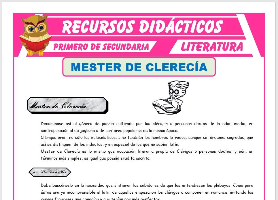 Ficha de Mester de Clerecía para Primero de Secundaria