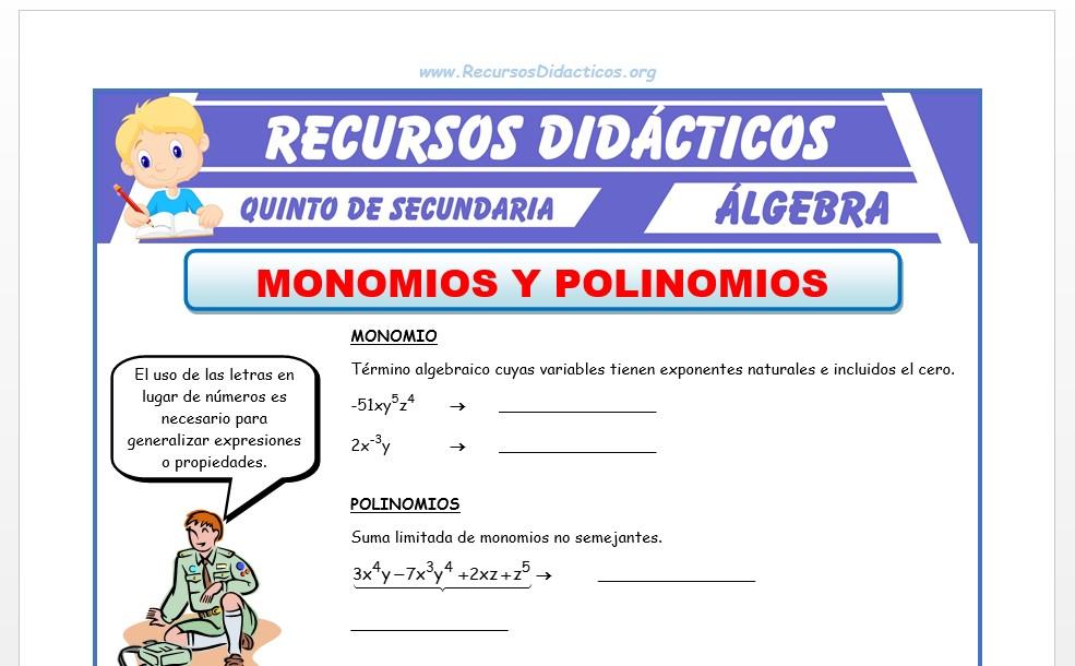 Ficha de Monomios y Polinomios para Quinto de Secundaria