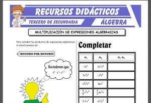 Ficha de Multiplicación de Expresiones Algebraicas para Tercero de Secundaria