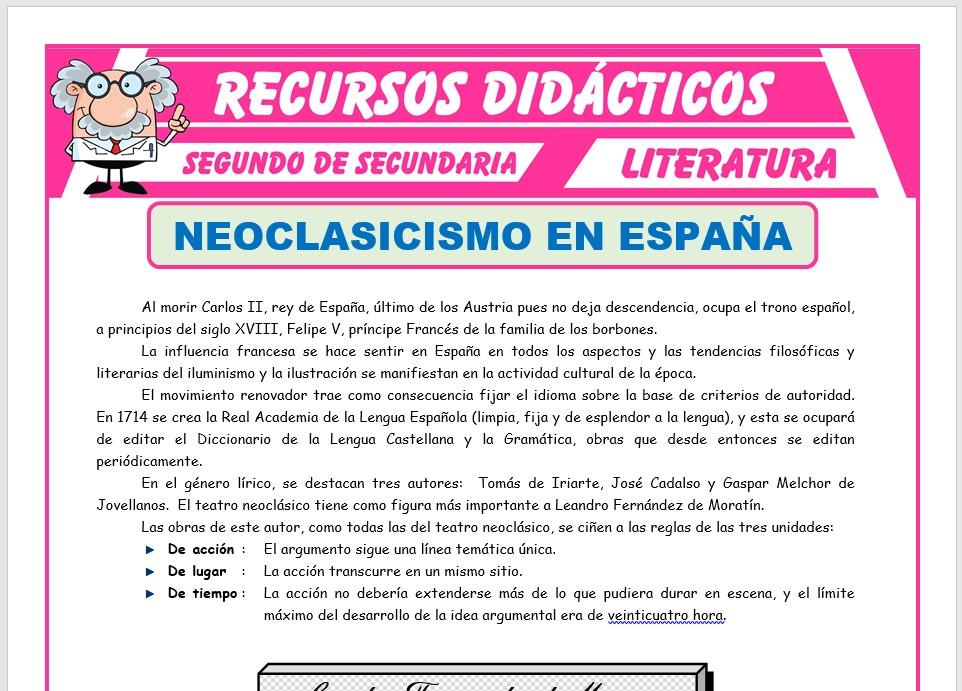 Ficha de Neoclasicismo en España para Segundo de Secundaria
